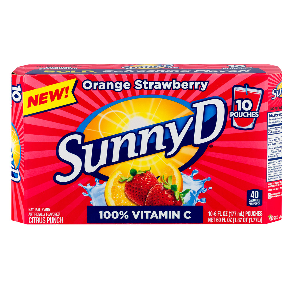 SunnyD Orange Strawberry Citrus Punch, 6 fl oz, 10 ct by Sunny Delight Beverages Company