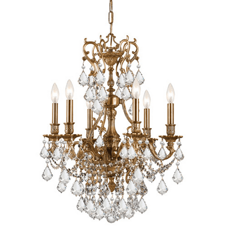 Chandeliers 6 Light With Aged Brass Clear Swarovski Strass Crystal Cast Brass 21 inch 360 Watts - World of Lighting