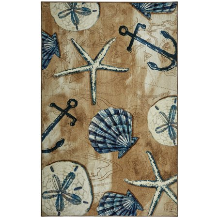 Mohawk Prismatic Area Rugs - Z0303 A217 Contemporary Sienna Anchors Circles Shells Starfish Rug ()