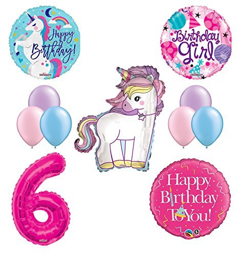Unicorn 6th Birthday Girl Party Supplies and Balloon Decorations