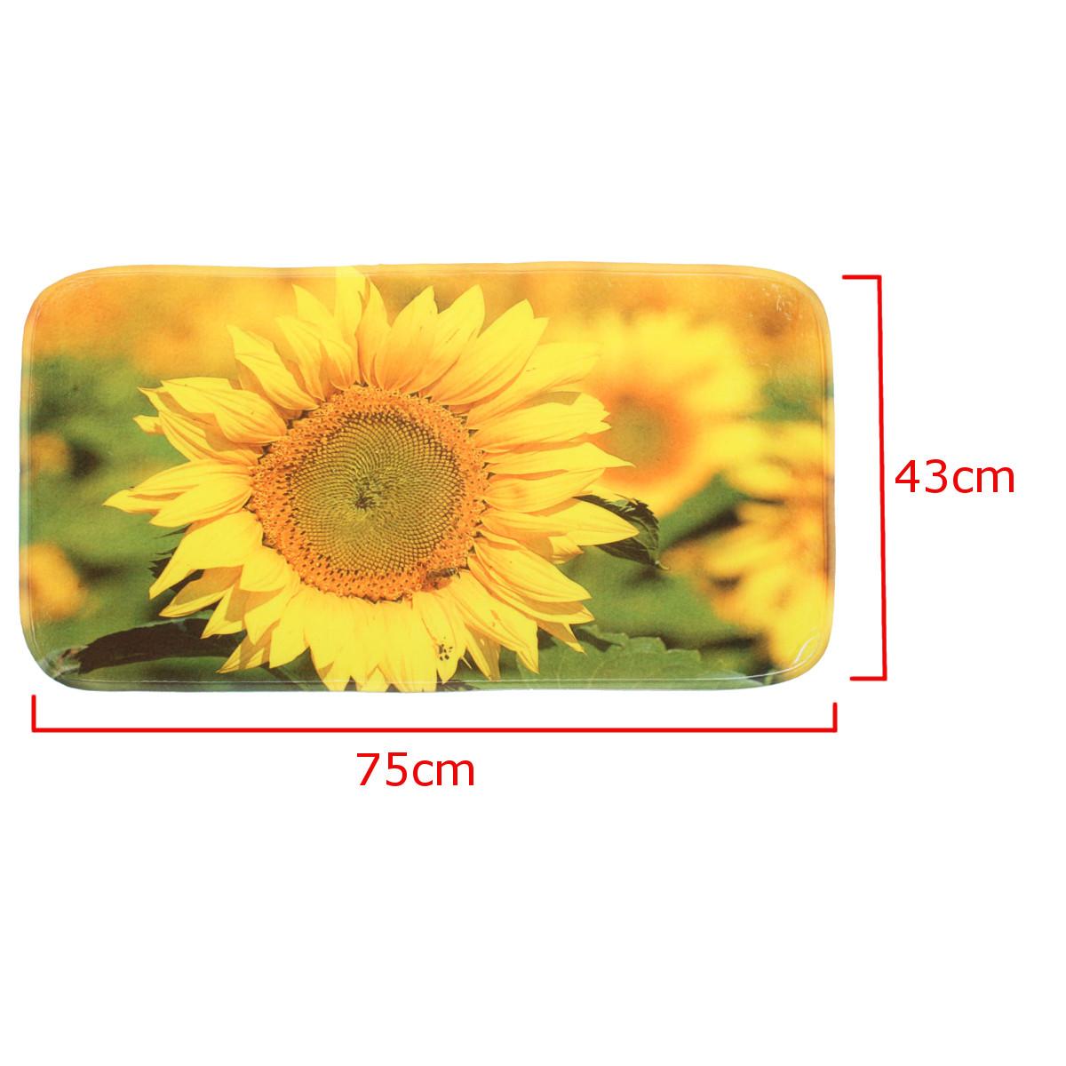 Sunflower Shower Curtain Floor Mat Non-slip Soft Toilet Lid Cover Bathroom Decor