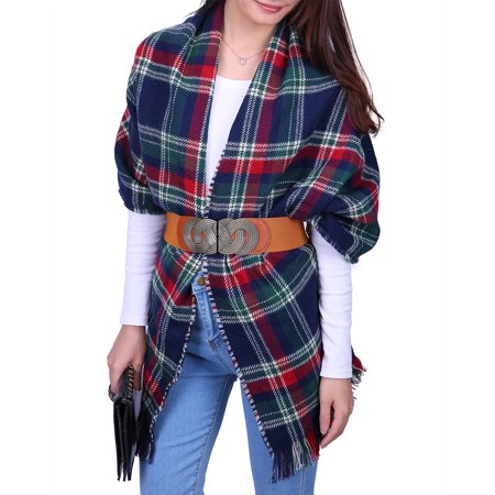 Palestinian Scarf - HDE Women's Oversized Tartan Scarf Long Wrap Checkered Pashmina Shawl Plaid Blanket (Christmas Tartan)