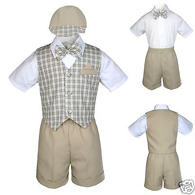 New Khaki Checkered Eton Vest Shorts Suit Boy Baby & Toddler S M L XL 2T 3T (Checkered Suit)