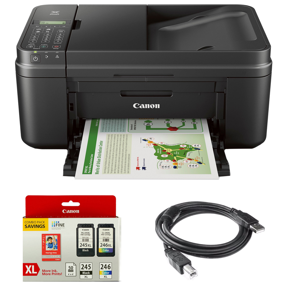 Canon PIXMA MX492 WiFi All-In-One Compact Size Inkjet Printer (0013C002) w/ Canon Ink Bundle Includes, Genuine Canon Ink Cartridge w/ Photo Paper Combo Pack & High Speed 6ft. USB Printer Cable