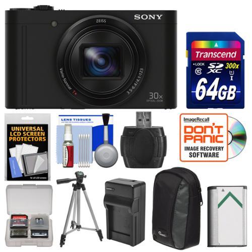 Sony Cyber-Shot DSC-WX500 Wi-Fi Digital Camera (Black) with 64GB Card + Case + Battery & Charger + Tripod + Kit