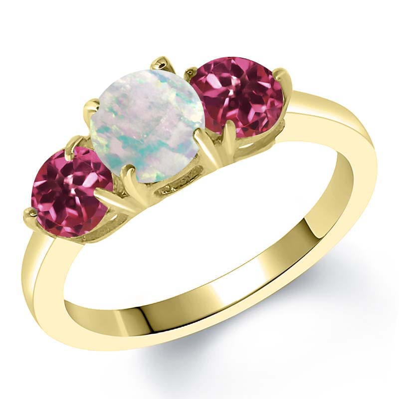 1.65 Ct Simulated Opal and Pink Tourmaline AA 18K Yellow Gold Plated Silver Ring by
