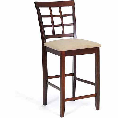 """Wholesale Interiors Katelyn 39"""" Wood Modern Counter-Height Stool, Set of 2, Cappuccino/Brown"""