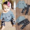 2Pcs Newborn Infant Baby Girls Tops Long Sleeve Shirt+Pants Outfits Set Clothes