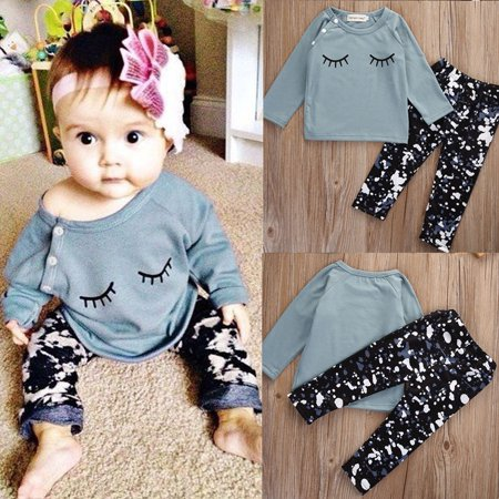 2Pcs Newborn Infant Baby Girls Tops Long Sleeve Shirt+Pants Outfits Set Clothes (50s Baby Clothes)