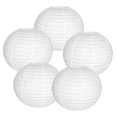 16 White Paper Lanterns Set Of 5 16inch Round