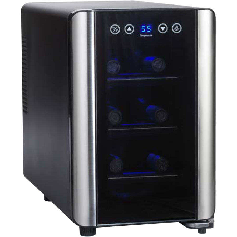 2720307 Thermoelectric Energy Efficient Wine Refrigerator with 6 Bottle Capacity  Silent Cooling Technology  Digital Touchscreen  Chrome Shelves and LED Lighting: Glass Door with Stainless S