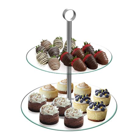 Dessert Tower-Two Tier, Round Glass Display Stand for Cookies, Cupcakes, Pastries, Hors d'oeuvres and Appetizers-Great for Parties by, TWO-TIER-.., By Chef Buddy