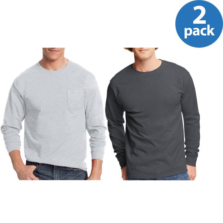 Hanes Mens Tagless long-sleeve T-shirt, 2 Pack Bundle for