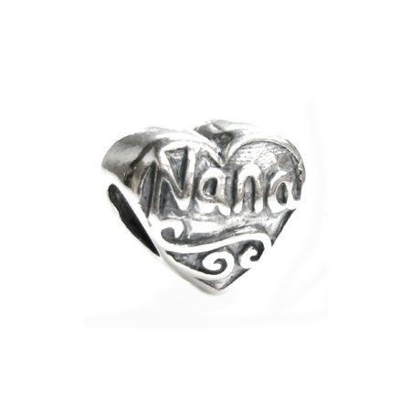 Queenberry Sterling Silver Love Nana Great Grandma Heart Bead Charm Fits