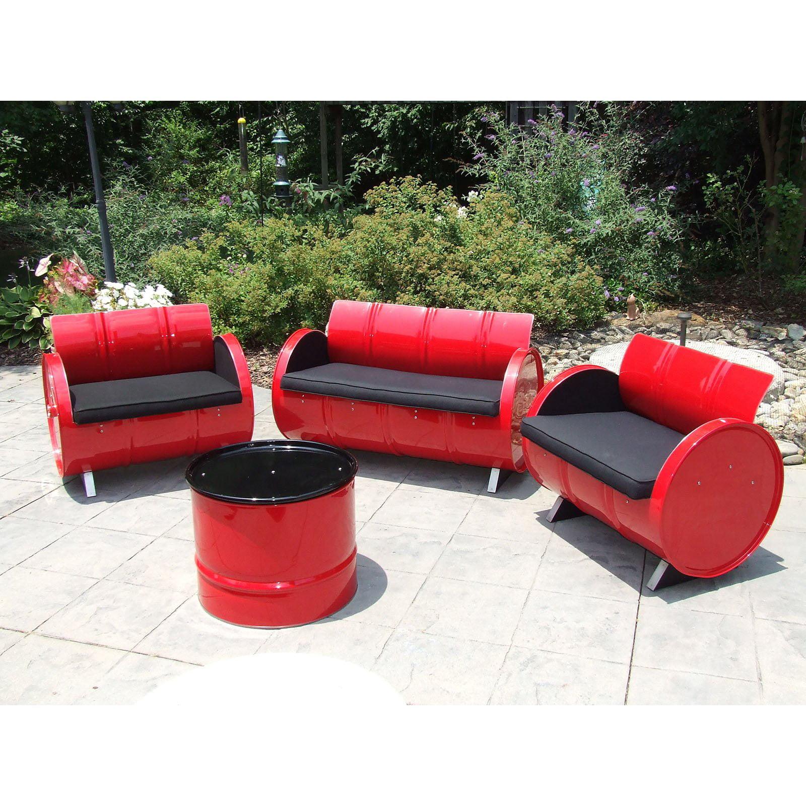 Drum Works Furniture Red Loft Steel 4 Piece Patio Conversation Set by Drum Works Furniture