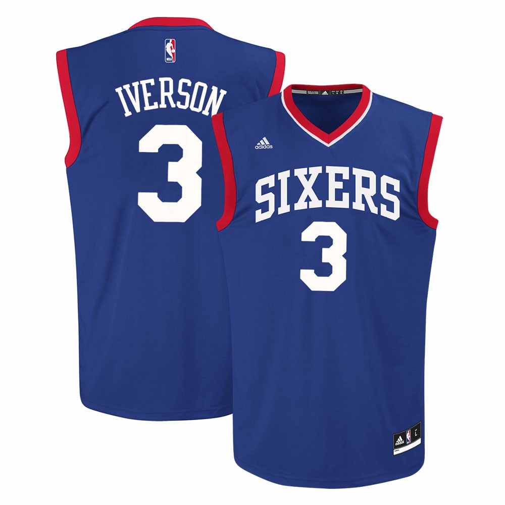 Allen Iverson Philadelphia 76ers NBA Adidas Men's Blue Official Replica Jersey