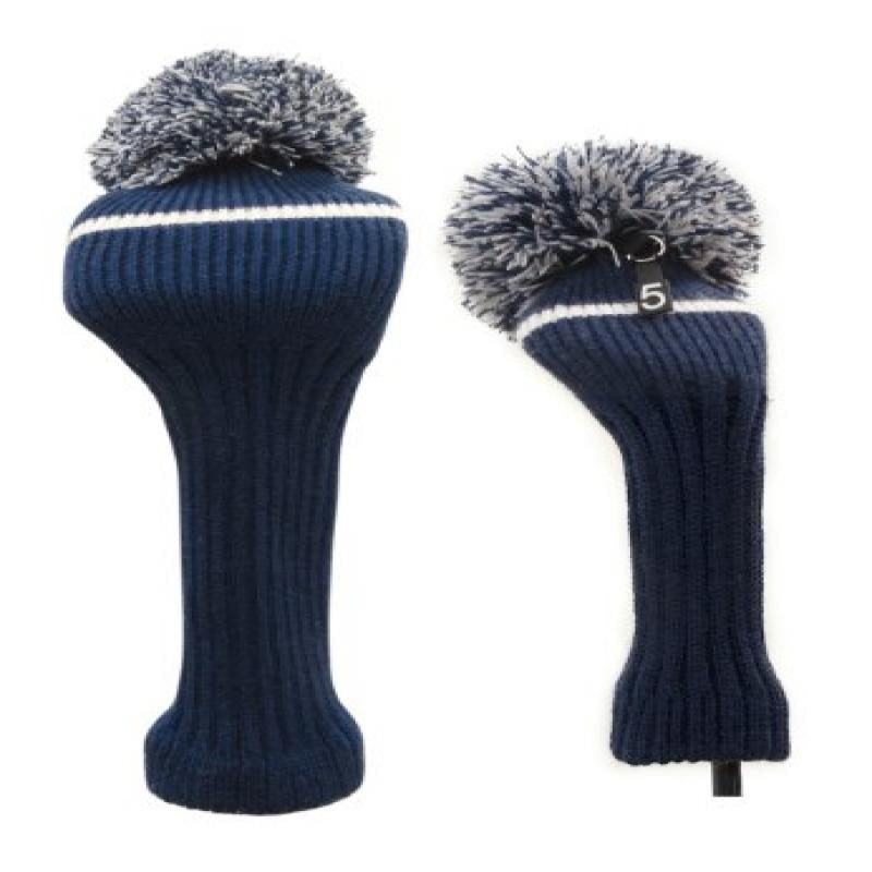 Classic Knit Spandex Pom Pom Golf Headcovers for Drivers, Fairway Woods, Hybrids and Putters (Navy, Fairway Wood / Hybrid)