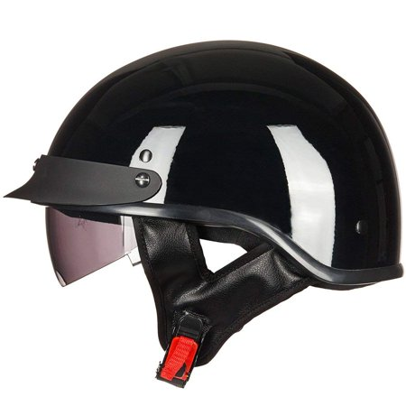 ILM Motorcycle Retro Vintage Half Face Helmet with Sun Visors Quick Release Buckle DOT Certified S M L