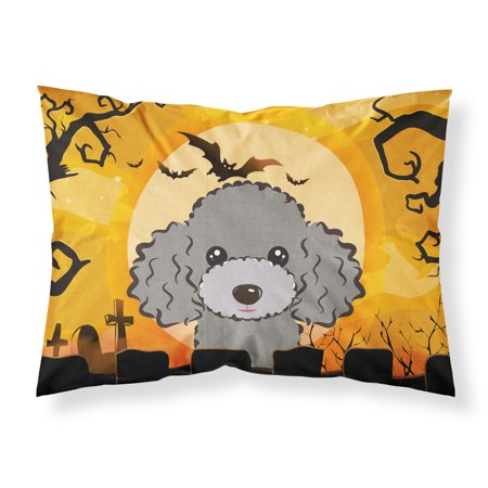 Halloween Silver Gray Poodle Fabric Standard Pillowcase BB1817PILLOWCASE - Halloween 1817
