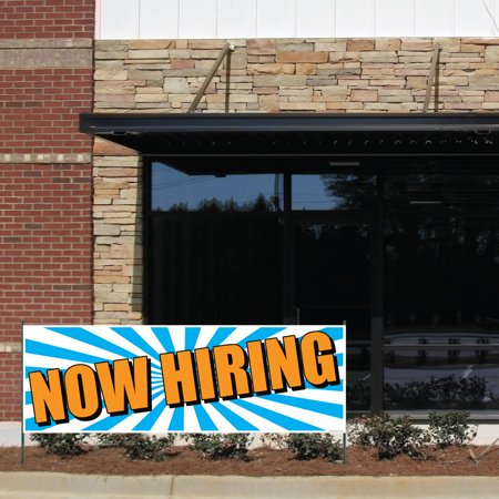 Now Hiring 3'x9' Vinyl Banner with Grommets