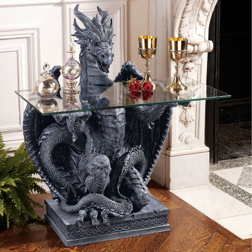 Design Toscano The Subservient Dragon Glass Topped Sculptural Console Table
