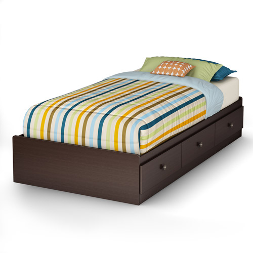 South Shore Zach Twin Storage Bed (39'') with 3 Drawers, Chocolate