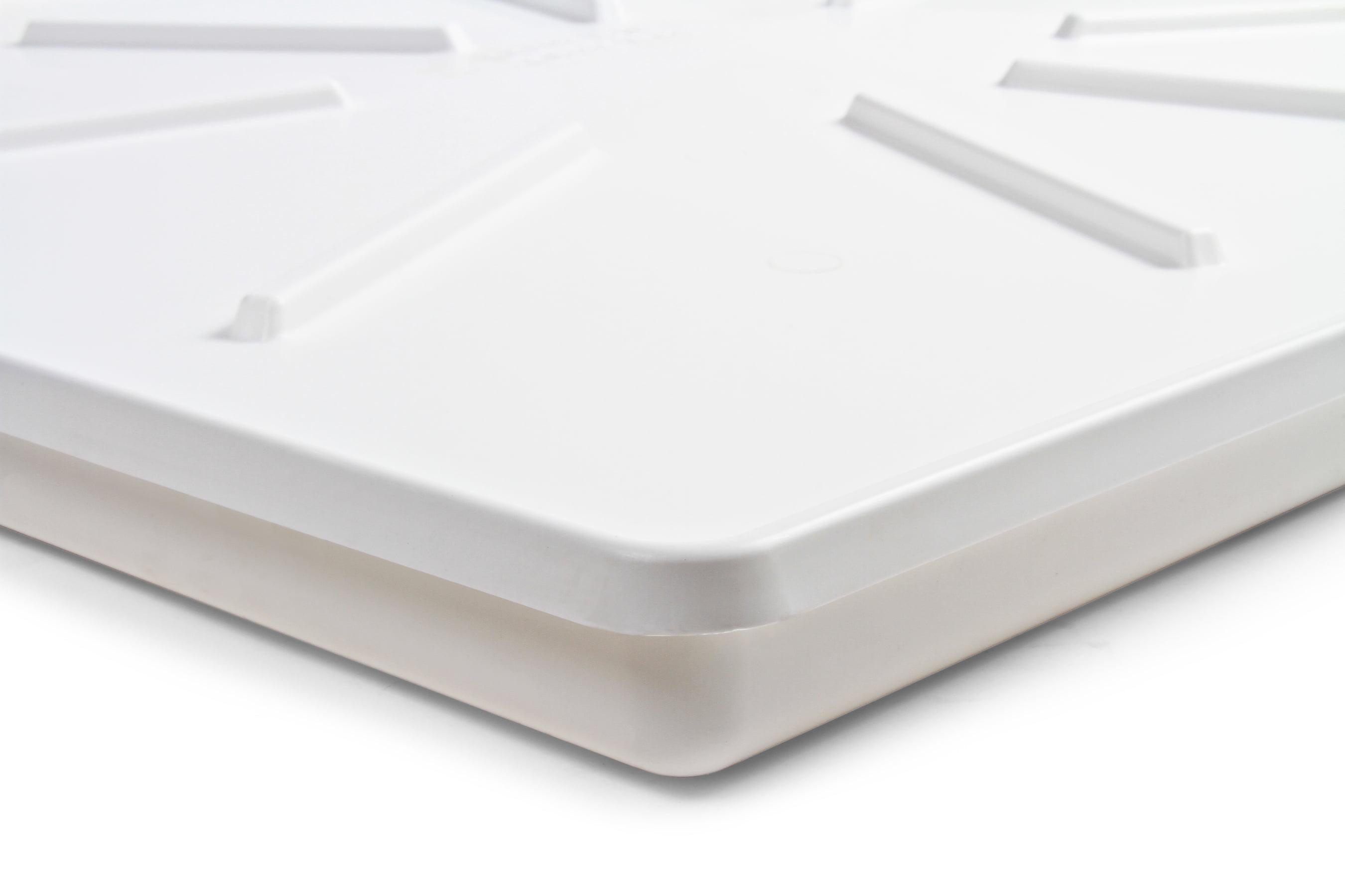 Camco 20786 30 5 X 34 5 Washing Machine Drain Pan For Front Loading Machines W Pvc Fitting White Walmart Com Walmart Com