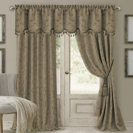 Elrene Home Fashions Mia Jacquard Damask Blackout Rod Pocket Single Curtain