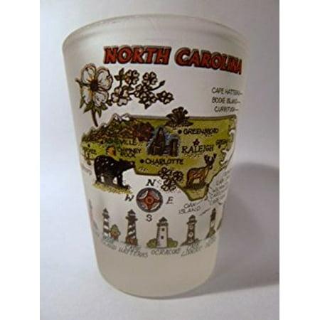 North Carolina Map Frosted Shot Glass