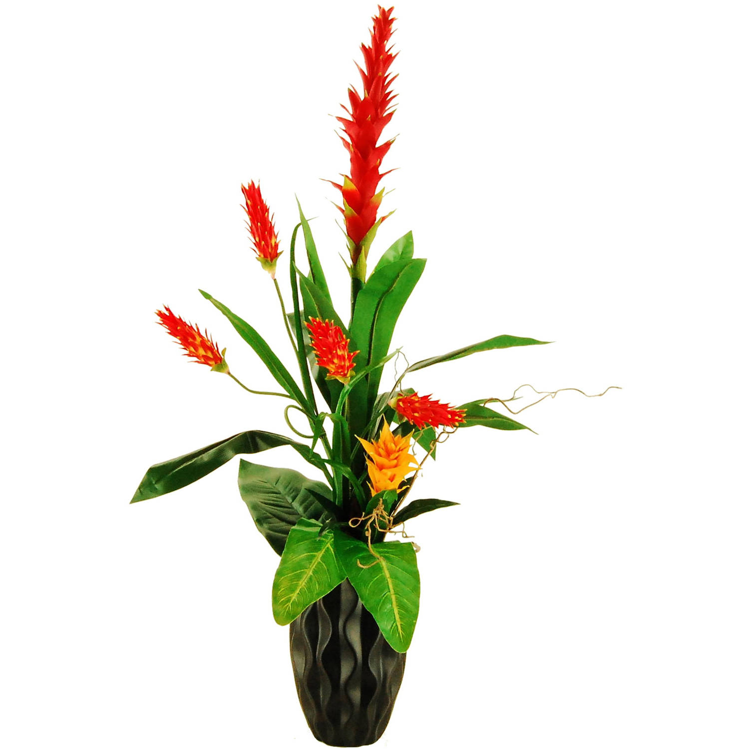 "45"" Artificial Tropical Garden with Torch Bromeliad and Helicona with Curly Willow in a Ceramic Vase"