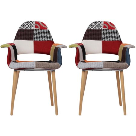 2xhome - Set of 2 - Multi-color Upholstered Organic Arm Chair Armchair Fabric Chair Patchwork Multi-pattern Light Brown Natural Wood Leg Dining Room Chair With arm Modern