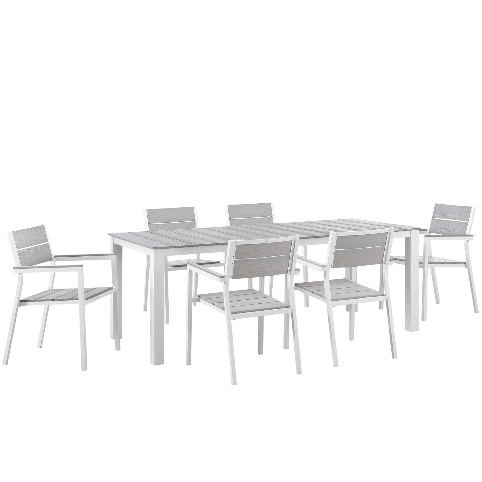 Modern Urban Contemporary 7 pcs Outdoor Patio Dining Room Set, White Light Grey Steel by