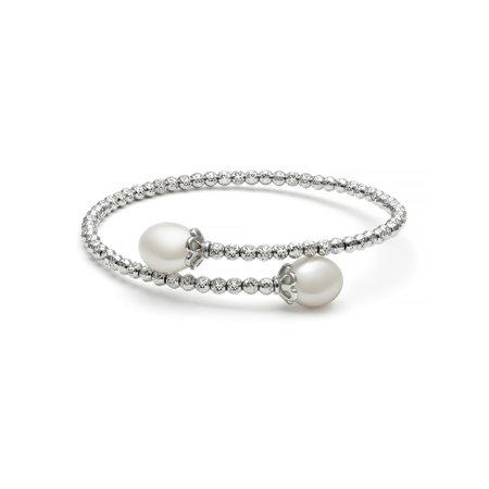 8-9mm Drop Cultured Freshwater Pearl and Faceted Bead Sterling Silver Flex Bangle