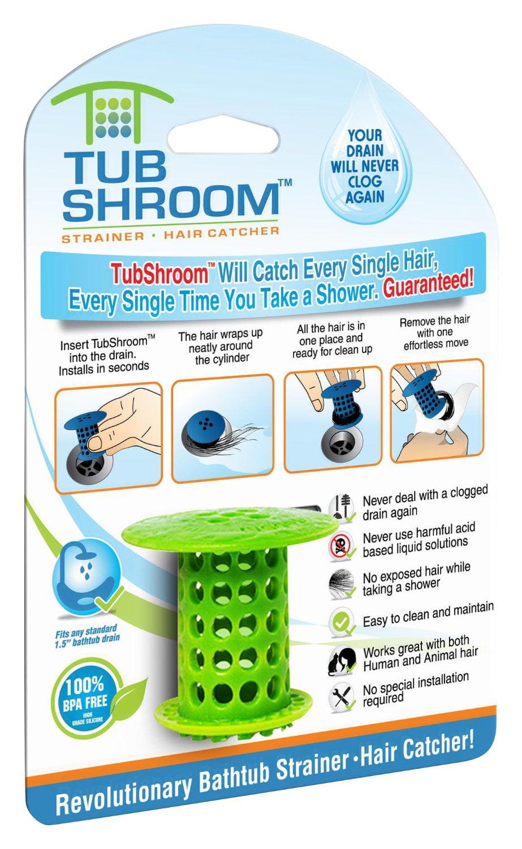 TubShroom Revolutionary Hair Catcher Drain Protector for Tub Drains ...