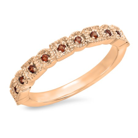 0.20 Carat (Ctw) 10K Rose Gold Round Garnet Ladies Vintage Style Anniversary Wedding Eternity Band Stackable Ring 1/5 -