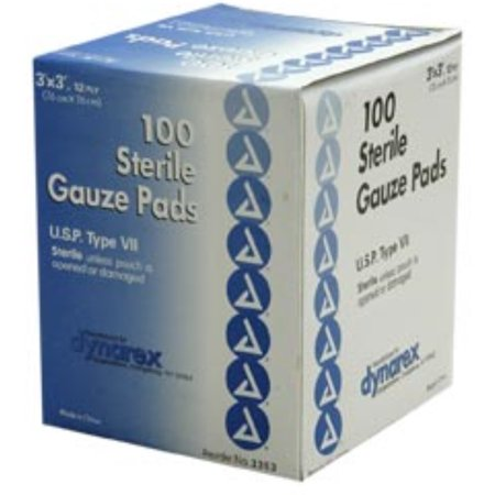 Dynarex Gauze Pads Sterile 3x3 12PLY 100 ea (Pack of 2)