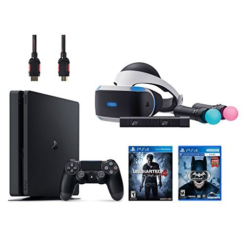 Refurbished PlayStation VR Start Bundle VR Headset Move Controller PlayStation Camera Motion Sensor PlayStation 4 Slim 500GB Console Uncharted 4 VR Game Disc Arkham VR