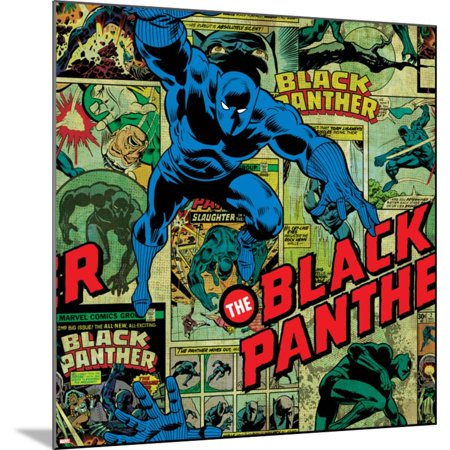 Marvel Comics Retro Pattern Design Featuring Black Panther Art Print - 24x24