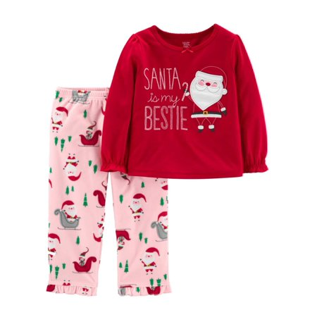 Carters Infant & Toddler Girls Red Santas Bestie Christmas Holiday Pajamas