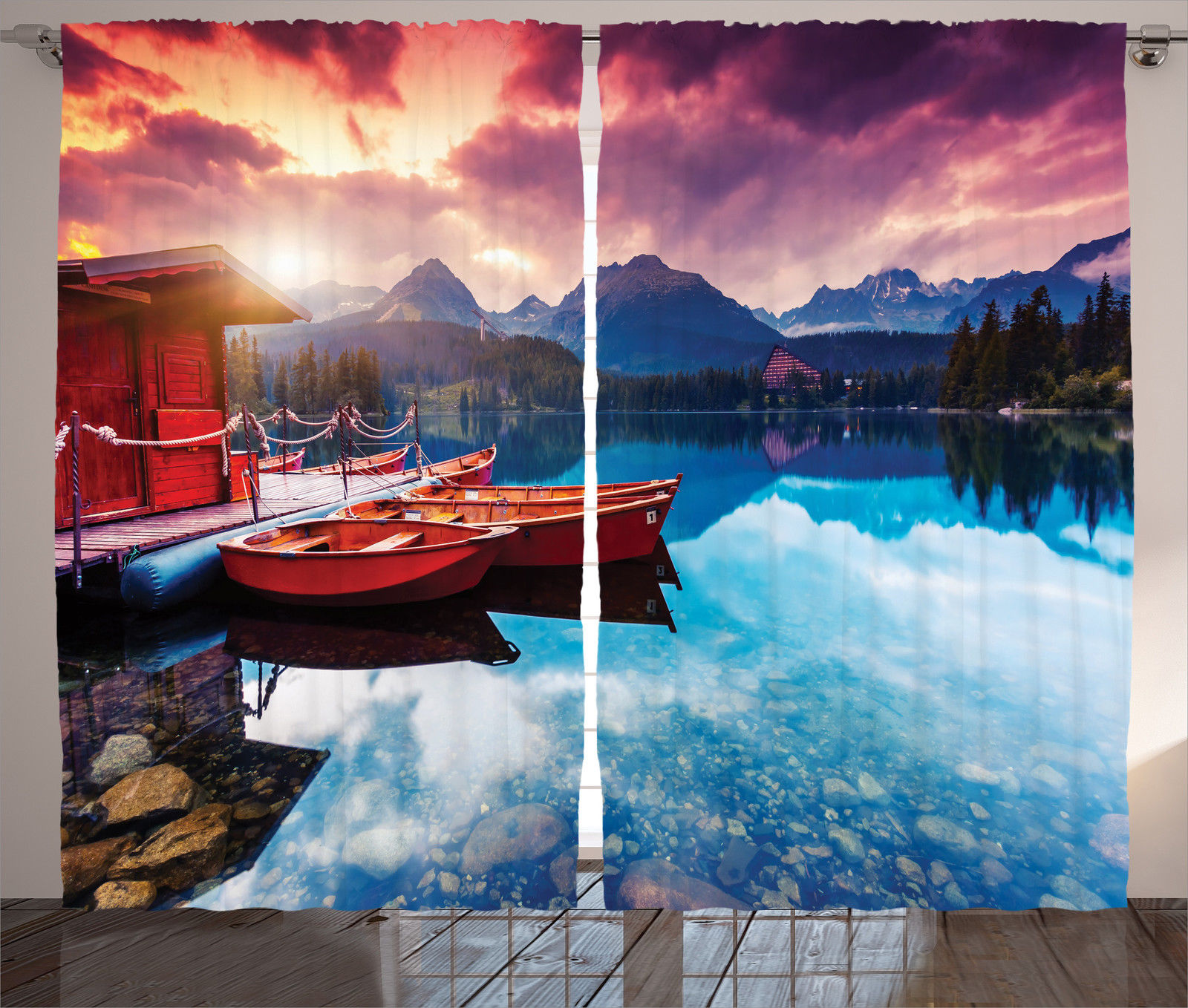 Click here to buy Lake House Decor Curtains 2 Panels Set, Peaceful Mountain Lake With Majestic Sky And Mountains In South Asia Romantic View Photo, Living... by Kozmos.