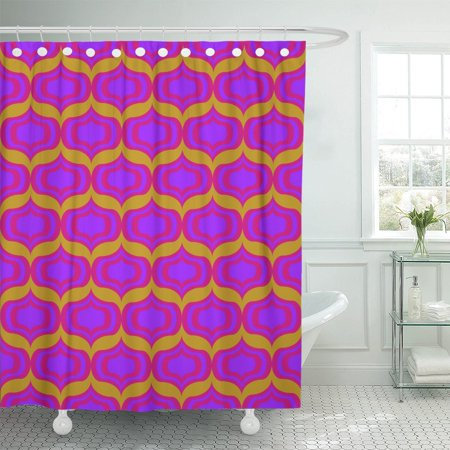 PKNMT Orange 1960S 60S Psychedelic Pattern Pink Retro Mod Vision Polyester Shower Curtain 60x72 inches - 60s Mod Outfits