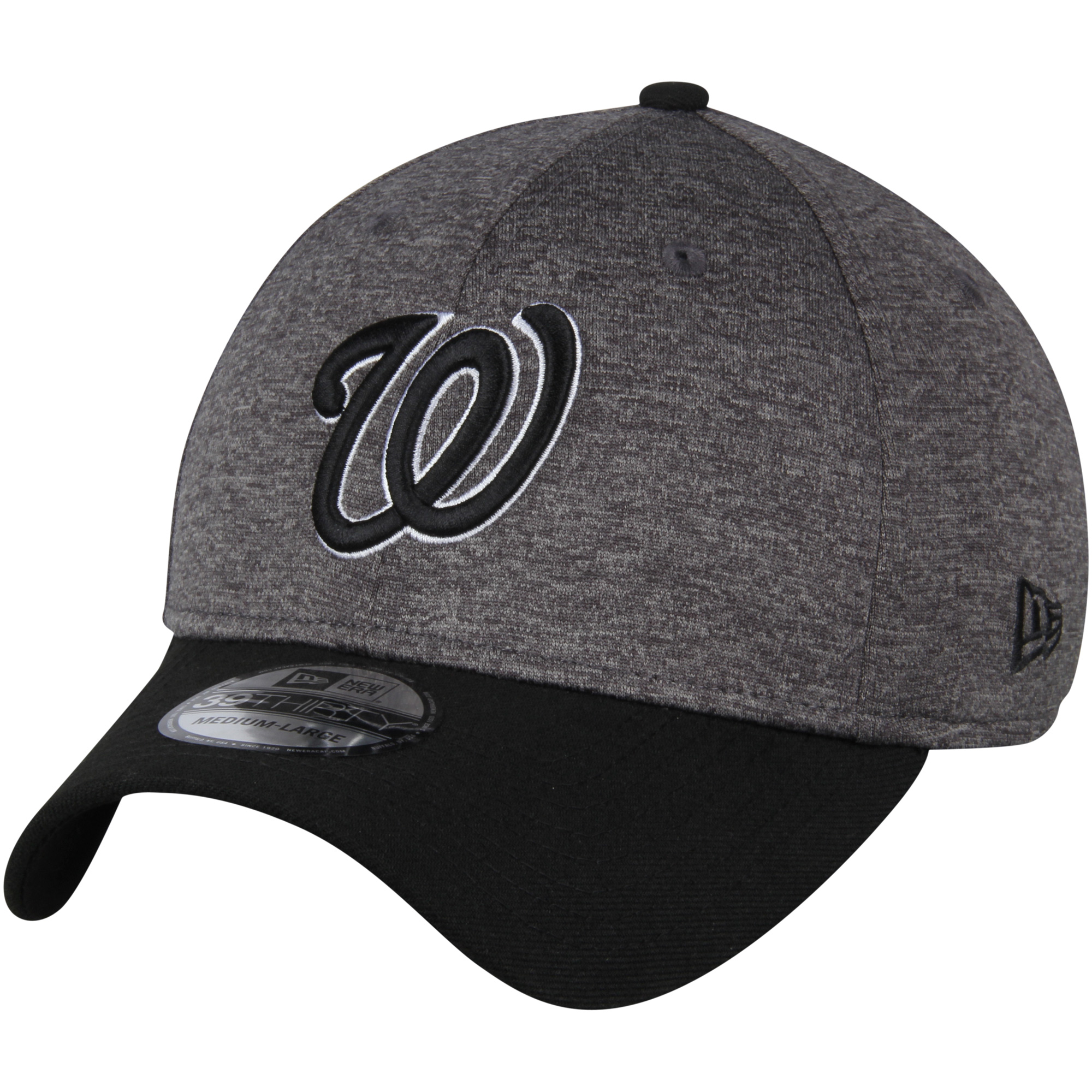 Washington Nationals New Era Shadow Tech 39THIRTY Flex Hat - Heathered Gray/Black