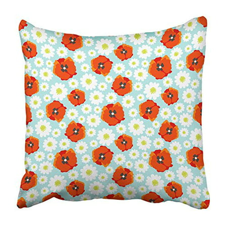 ARHOME Black 60S with Flower Field Daisy and Poppy Allover Pattern Colorful 70S Baby Pillowcase Cushion Cover 16x16 inch](70s Flower Power Fashion)