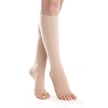 920d51ea7 Made in the USA - Opaque Compression Socks Knee Hi Medical Graduated  Compression Stockings 20-30 mmHg Firm Support - Open Toe Unisex