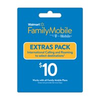 Walmart Family Mobile $10 Extras Pack Add-on – International Calling and Roaming to select destinations (Email Delivery)