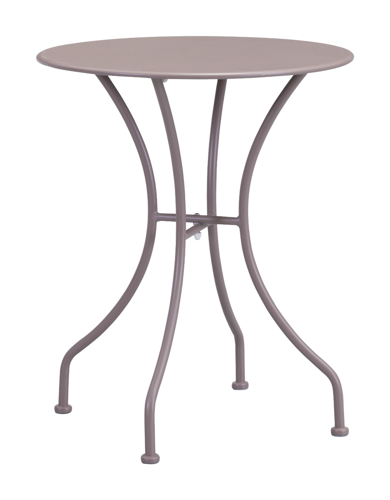 Modern Contemporary Outdoor Patio Dining Round Table, Beige, Metal