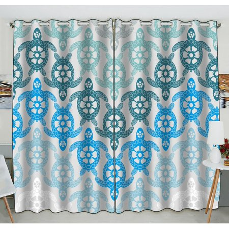 - GCKG Creative Sea Turtle Window Curtain Kitchen Curtain Window Drapes Panel for Living Room Bedroom Size 52(W) x 84(H) inches (Two Piece)