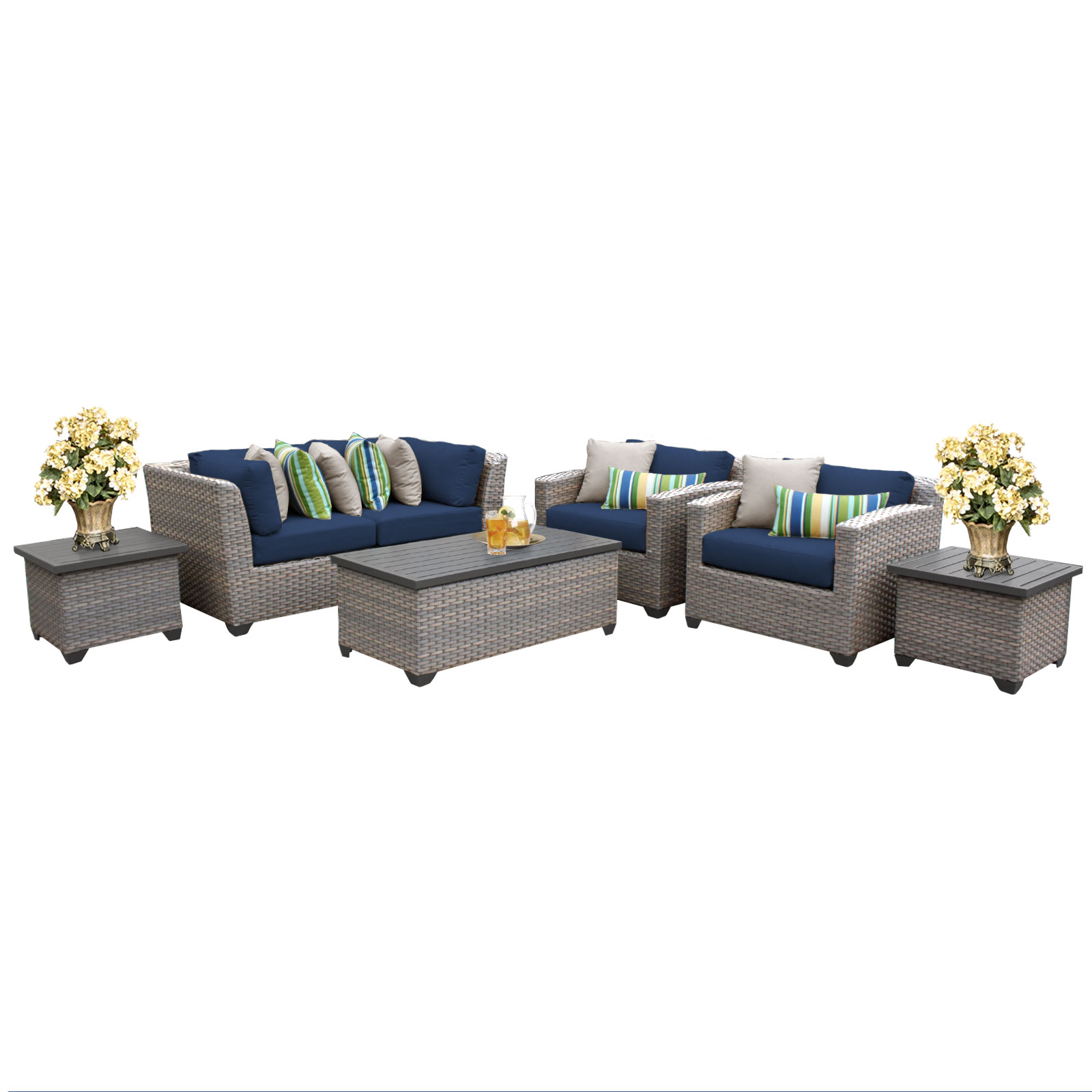 Catalina 7 Piece Outdoor Wicker Patio Furniture Set 07d