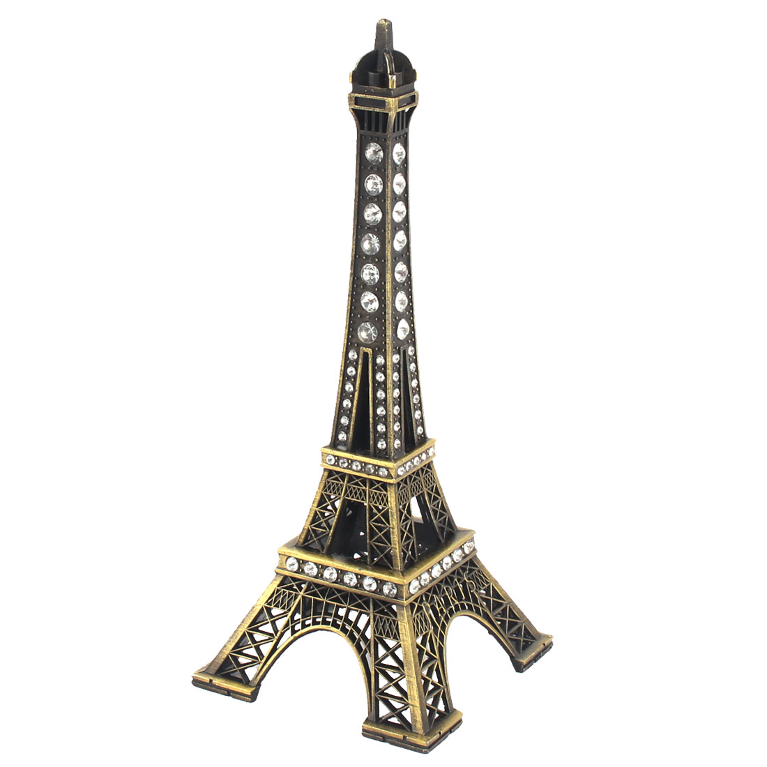 Metal Eiffel Tower Design Rhinestone Detailing Souvenir Ornament Bronze Tone