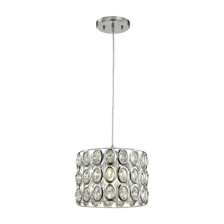 Tessa 1-Light Mini Pendant in Polished Chrome with Clear Crystal
